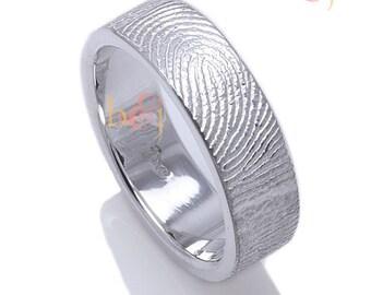 Custom Fingerprint Wedding Band with Fingerprint Wrapped on the Outside, Not Blackened