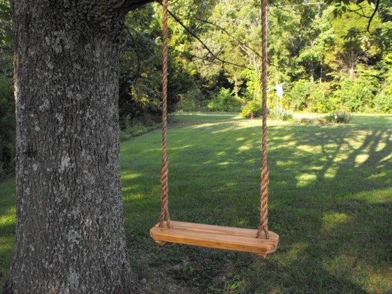 rope swing tree swing recycled reclaimed rustic by quarrydesigns. Black Bedroom Furniture Sets. Home Design Ideas
