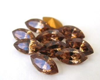 Vintage Rhinestone Swarovski Crystal Smoked Topaz Navette Jewel 10x5mm swa0284 (10)