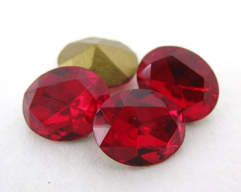 Vintage Swarovski Crystal Rhinestone Siam Ruby Oval Glass Jewel 10x8mm swa0288 (4)