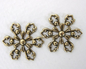 Antiqued Brass Ox Charm Snowflake Filigree Flower Connector Link 20mm flg0059 (4)
