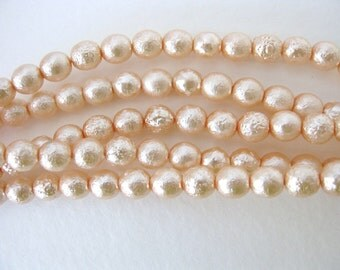Vintage Glass Beads Faux Pearls Pink Peach Textured Czech 6mm vgp0324 (30)