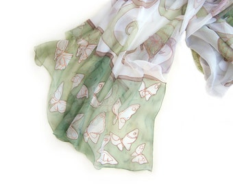 Silk Scarf/ Mint Butterflies hand painted silk shawl/ Painted silk scarf. Silk chiffon shawl/ Shawl scarf painted/ White green pastel scarf