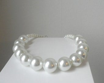 Chunky White Pearl Necklace Statement Big Beads Huge Choker