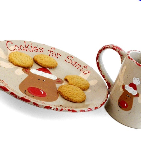 Reindeer Plate AND Mug - Personalized  Cookies for Santa Set - Personalized Reindeer Treats - Cookies and Milk for Rudolph - made in USA