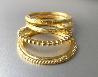 Wedding bands, stacking ring 14k yellow gold.