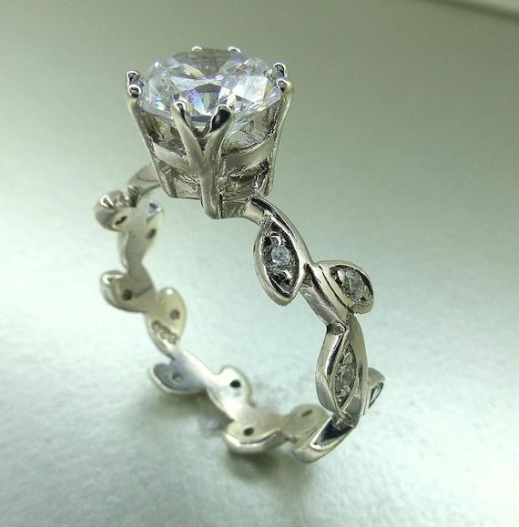 Moissanite engagement ring. Leaf engagement ring.  Moissanite center stone. 14k white gold moissanite ring.