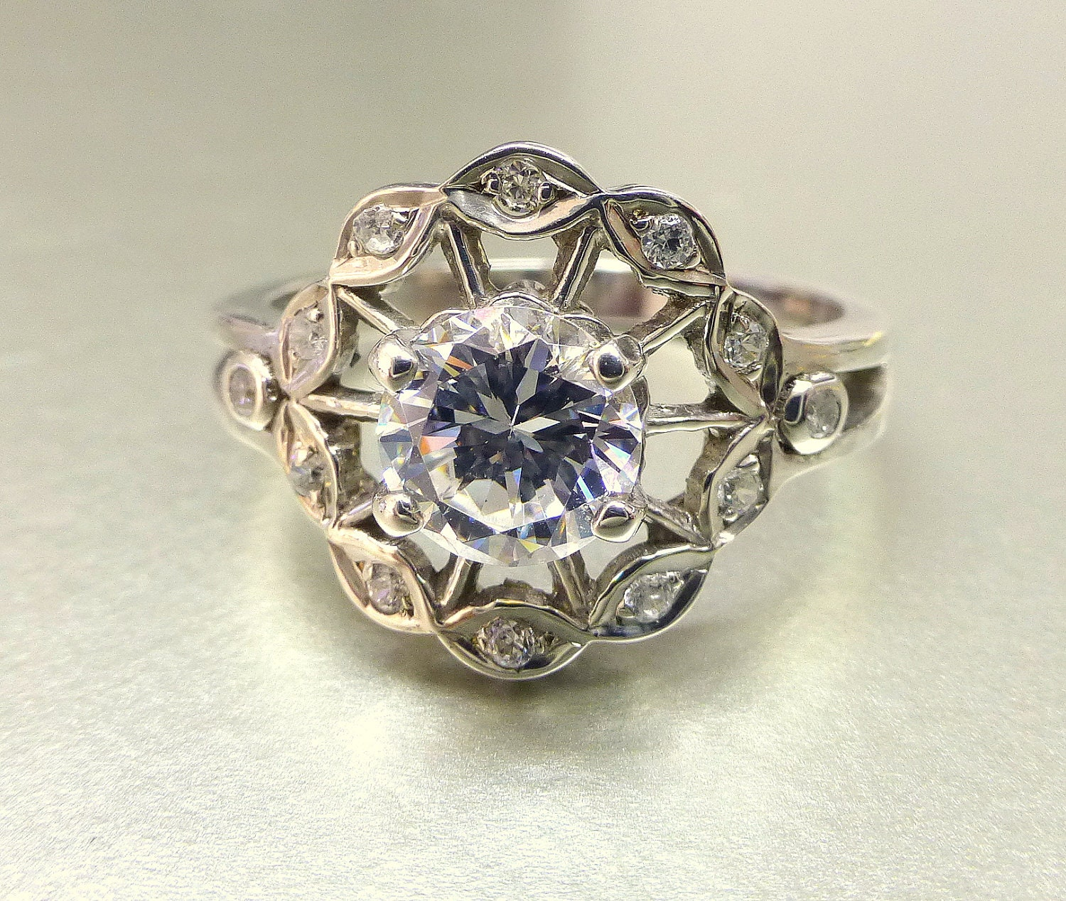 Flower engagement ring White sapphire flower ring Diamond