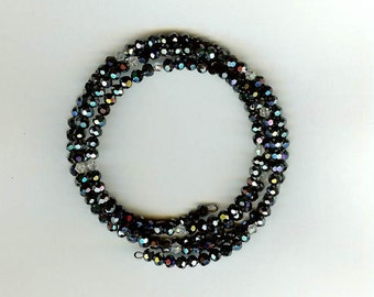 Memory Wire Bracelet 4 Coils, Crystal