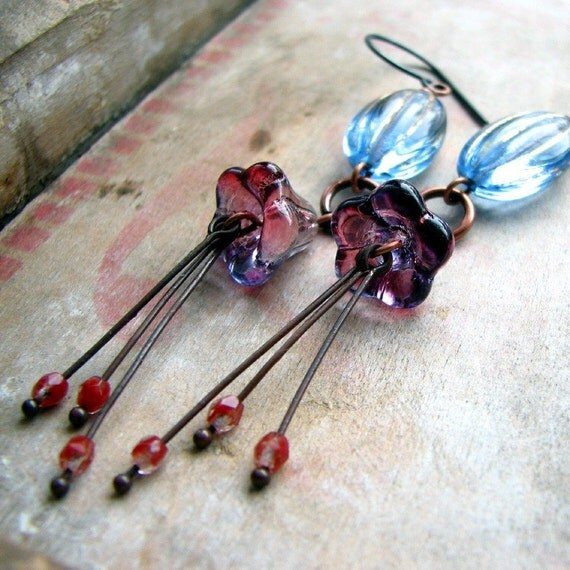 Solitude Dancing - glass beads and copper earrings