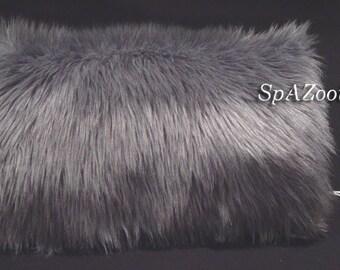 Silver fur muff gray faux fur hand muff bridal wedding hand warmer - feathery faux fur
