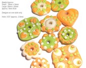 FUN FLATS 140 Lampwork Beads Handmade Flat DIscs in Ivory Lime Green Melon Orange  Set of 10