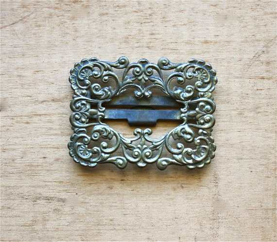Buckled or Clipped - Antique Brass Buckle - Victorian