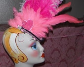 SALE Pink  Mini Top Hat - Feathers, Flowers / Mini Topper / Birthday / Tea Party / Mad Hat /-Girl, Adult