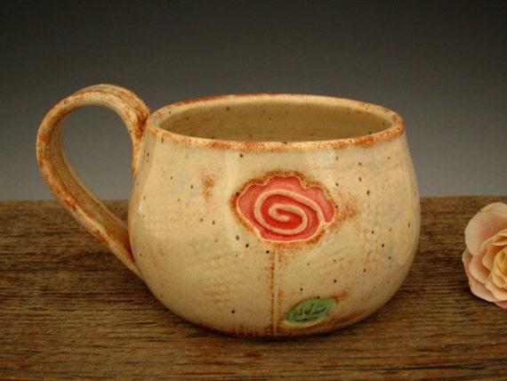 Single Rose Mug - Rustic White - Coffee Mug - Romantic Cottage Style - Flower Mug - by DirtKicker Pottery