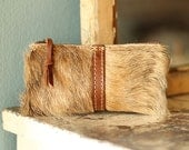 Brown Fur Leather Pouch Leather Makeup Pouch Leather Coin Purse - Small Brown Leather Zip LAST ONE