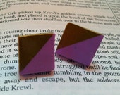 Geometrical/Square Polymer Clay Earrings - Lilac/lavender and Gold