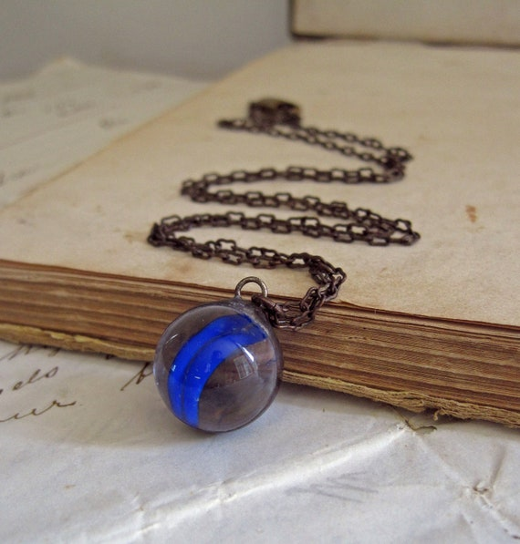 Clearly  Blue Vintage Marble Necklace