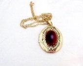 Large Locket Pendant, Necklace with Carnelian Stone