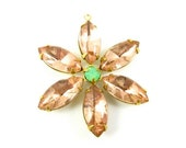 Flower Pendant with Vintage Stones in Brass Setting - Rosaline and Opal Green - 35mm - FA08