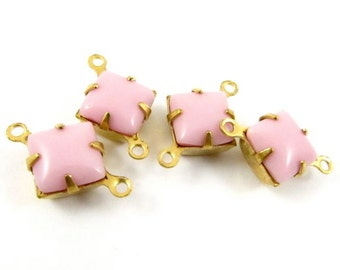 6 - Vintage Glass Square Stones in 2 Rings Closed Back Brass Prong Settings - Opaque Pink - 8x8mm ..