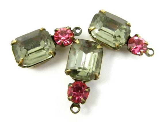 2 - Vintage Octagon Stone and Swarovski Crystal in 1 Ring 2 Stones Antique Brass Prong Settings - Black Diamond & Rose - 18x8mm