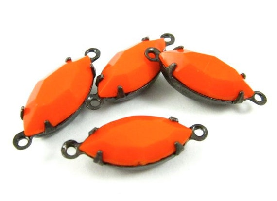 4 - Vintage Glass Faceted Navette Stones in 2 Rings Black Antique Brass Prong Settings - Opaque Orange - 15x7mm