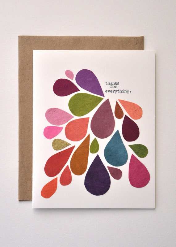 Thank You Card Handmade Greeting Abstract Mod Fall