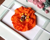 Thanksgiving Fall Orange Ribbon Flower with Handmade Turkery Center Girls Skinny Stretch Headband Great Photography Prop