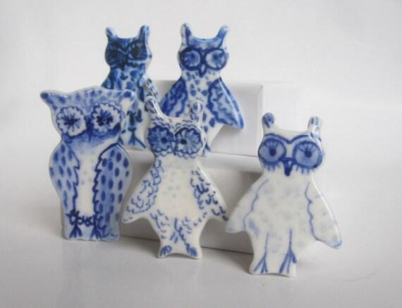 Little Owl Delft Brooch