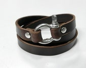 Brown Leather Wrap Bracelet Leather Bracelet Leather Cuff with Stainless Shackle Clasp