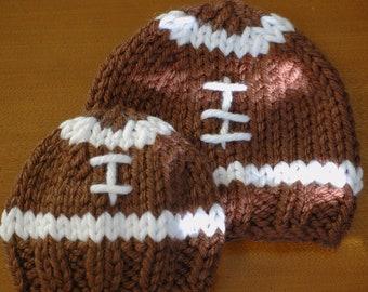 Knit Football Hat - Pattern - 3 sizes