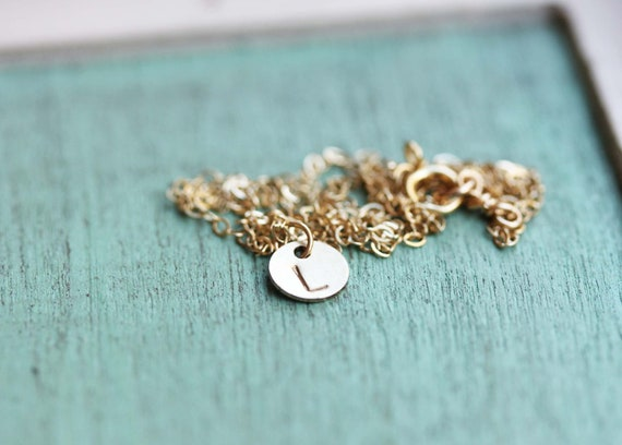 Tiny Gold Dot Necklace With Custom Initial