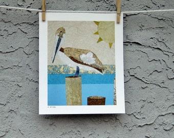 Pelican Bird Art Collage Giclee Print 8 x 10
