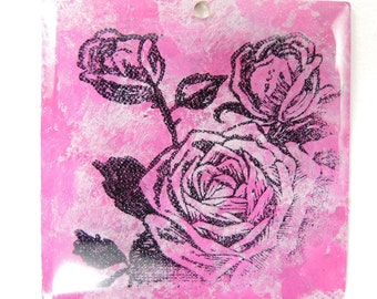 Pink Rose image on painted square brass pendant