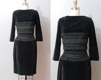 1950s Dress - Black Lace and Velvet Two Piece 50s Dress Set