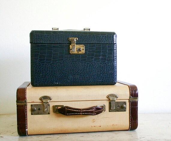 Vintage Blue Suitcase - Faux Crocodile Leather