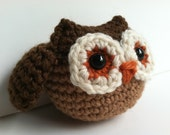 Amigurumi Crochet Owl Toy Plush - Cocoa Brown & Tan Woodland Owl Nursery Decor Gift Under 25 Stuffed Animal Owl Gift For Teens Plush Toy