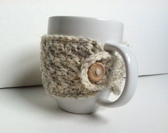 Crochet Coffee Cup Cozy-Wheat  Eco Friendly Gift Under 10 Washable Reusable Gift For Coffee Lovers Mug Cozy Gift For Her Hot Chocolate Cozy