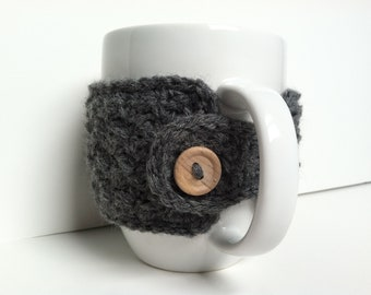Charcoal Gray Crochet Coffee Cup Cozy Eco Friendly Reusable Gift Under 10 Gift For Coffee Lovers Mug Warmer Mug Sweater Gray Gift For Her