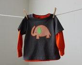 Boy's Orange Gingham Elephant on Gray Shirt