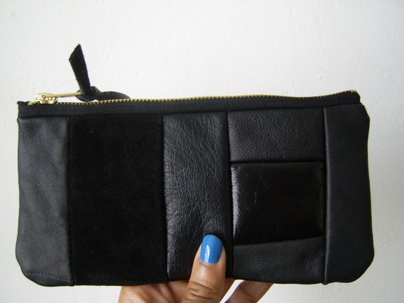 SALE, leather patchwork pouch, suede pouch, recycled leather, clutch, black, purse, suede, recycled pencil case