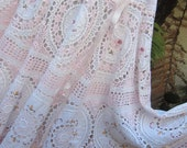 Vintage Kitty.. vintage crochet.. romantic full circle skirt.. shabby chic, dreamy, lace, roses, pink and white, Med/ Lge/XL