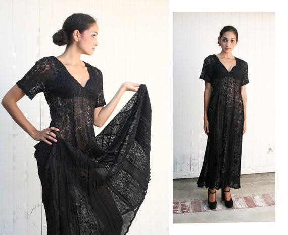 Vintage 90s Black Lace Sheer Maxi Dress