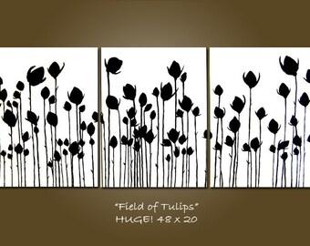 CUSTOM Field of Tulips - 48 x 20, Original Modern Contemporary Acrylic PAINTING canvas, Bird Art by Shanna