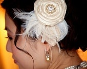 Peacock bridal flower hair clip or comb with rhinestones pearl feathers