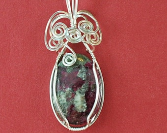 Eudialyte gemstone pendant with Sterling Silver wire wrap - P201