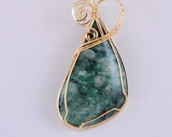 Mariposite freeform pendant wrapped with 14k Gold Filled wire - P217