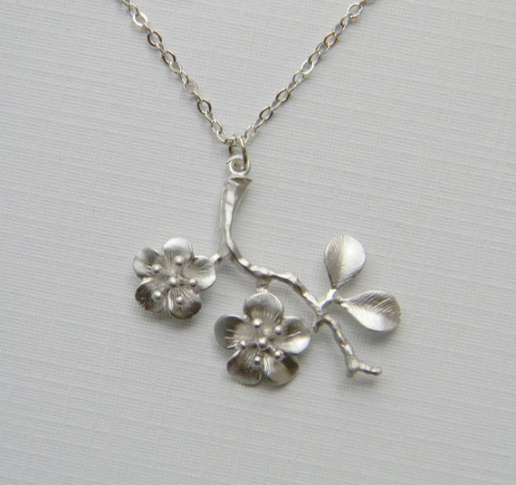 silver cherry blossom branch necklace bridesmaid necklace