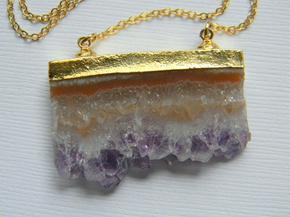 Amethyst Crystal Pendant Necklace - Druzy Slice Necklace - 24K Gold Dipped - Bohemian Necklace - OOAK - Gift for Her